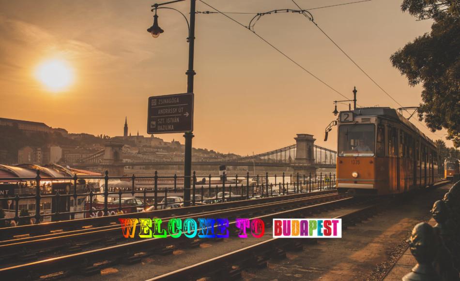 Tramwaj w Budapeszcie, w tle most łańcuchowy