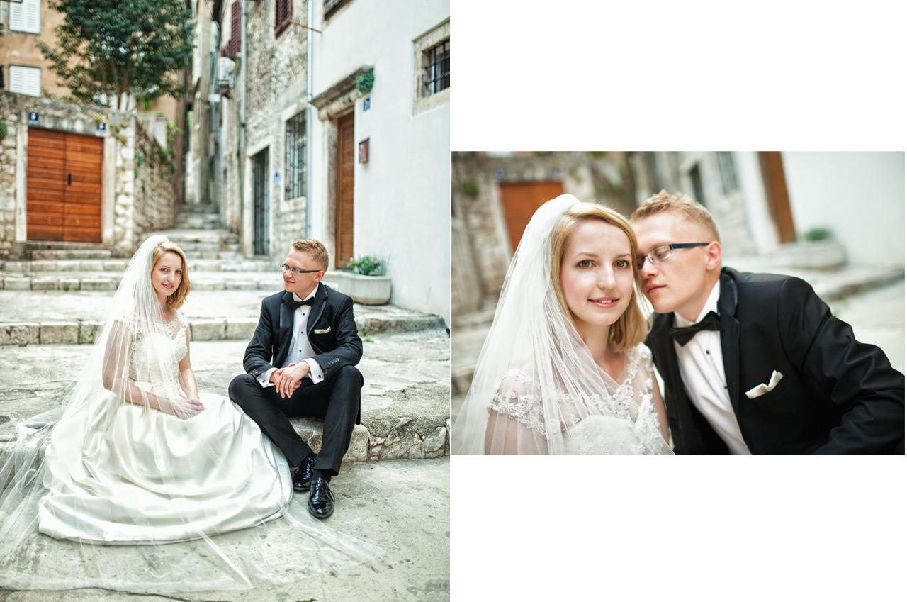 Plener ślubny w Chorwacji - boczna ulica