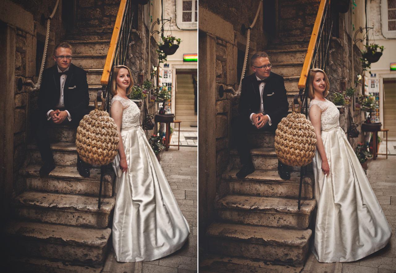 Plener ślubny w Chorwacji - schody w Szybeniku