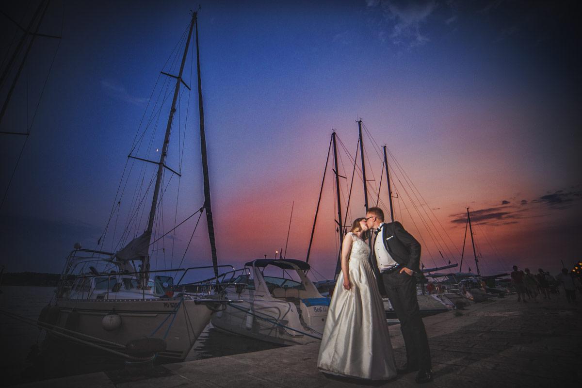 Plener ślubny w Chorwacji - zachód słońca Szybenik