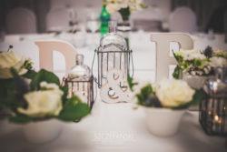 Detale ślubne dekoracja stołu Państwa Młodych
