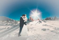 Plener ślubny w śniegu na górze Kopa
