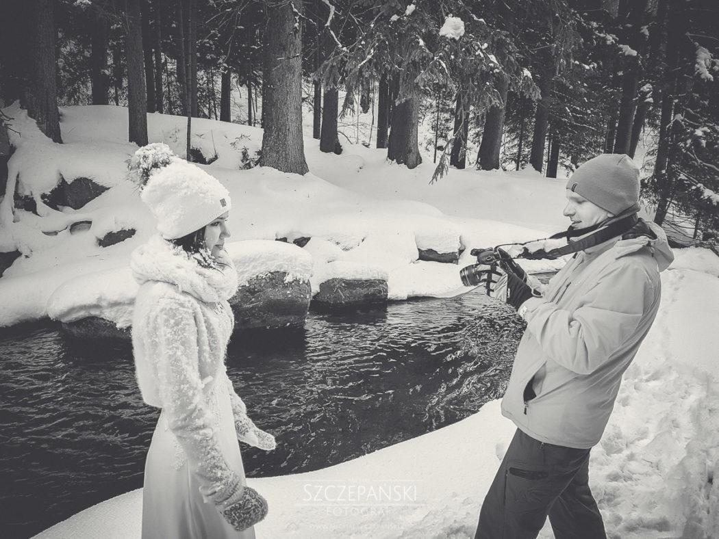Plener ślubny w górach backstage