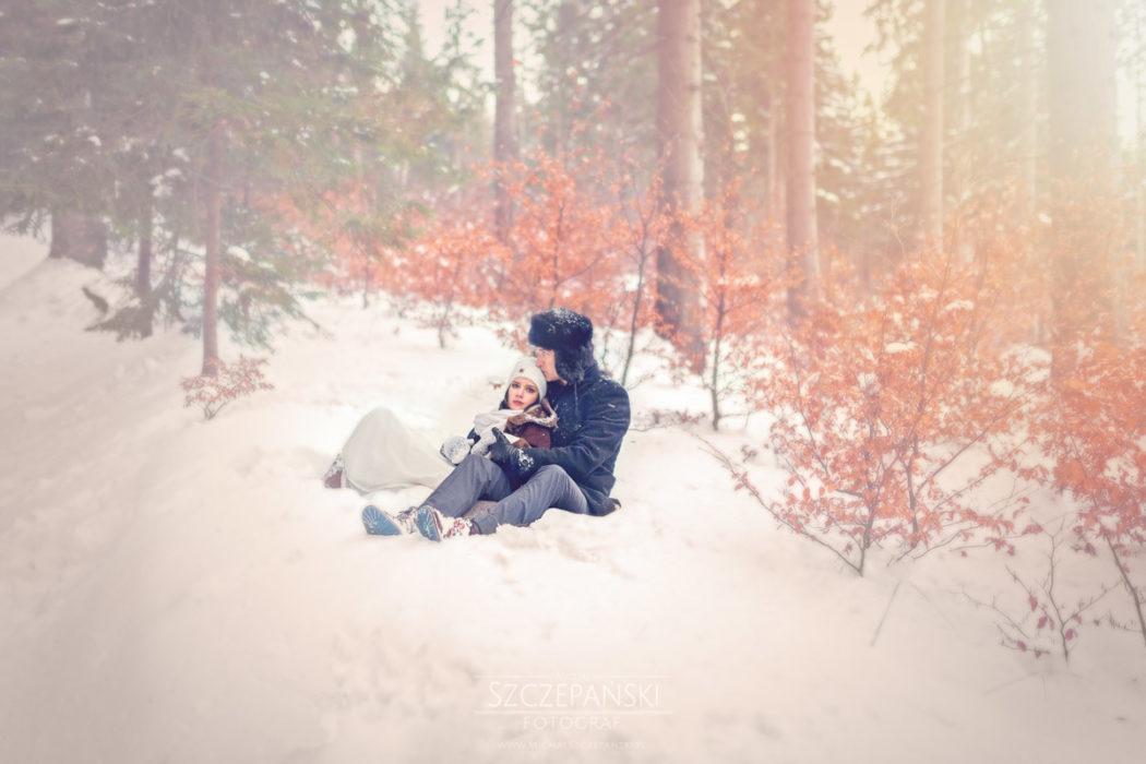 Plener ślubny w górach las