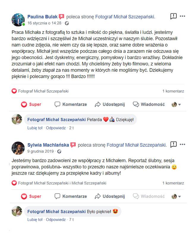 Recenzje z facebooka